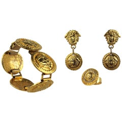 Gianni Versace Gold Medusa Jewelry Handmade Set, 1998