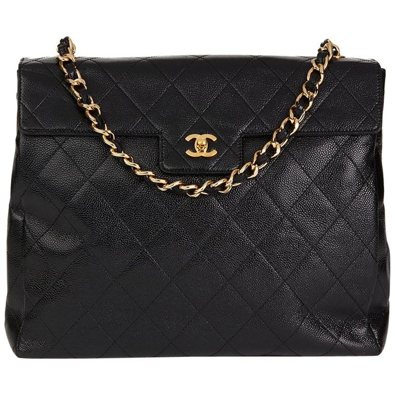 2000s Chanel Black Quilted Caviar Leather Timeless Shoulder Tote
