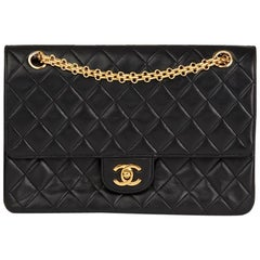 1980s Chanel Black Quilted Lambskin Vintage Classic Double Flap Bag