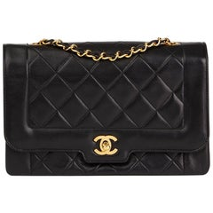 1990s Chanel Black Quilted Lambskin Vintage Medium Classic Diana Flap Bag