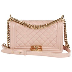 e9f284d854d1 2017 Chanel Light Pink Quilted Iridescent Calfskin Leather Medium Le Boy