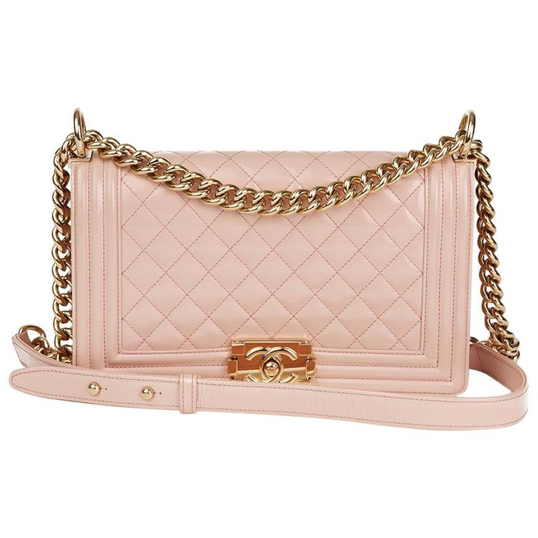 1e10a596707c 2017 Chanel Light Pink Quilted Iridescent Calfskin Leather Medium Le Boy  For Sale