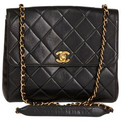 1990s Chanel Black Quilted Lambskin Vintage Classic Single Flap Bag