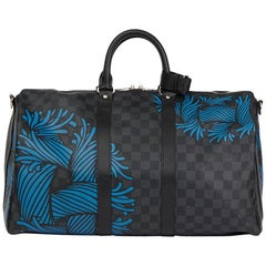 2010s Louis Vuitton Graphite Damier Christopher Nemeth Keepall Bandouliere 45