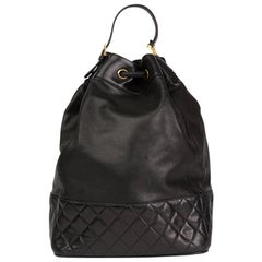 1990s Chanel Black Quilted Lambskin Vintage Timeless Backpack