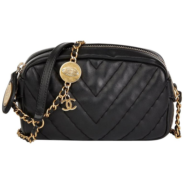 2010s Chanel Black Chevron Quilted Calfskin Leather Mini Medallion Charm Camera