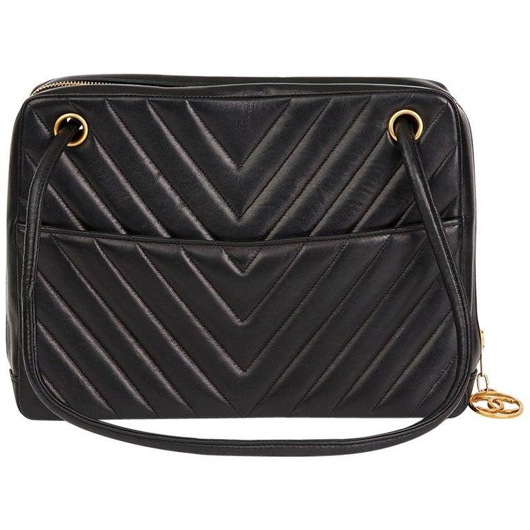 1990s Chanel Black Chevron Quilted Lambskin Vintage Timeless Shoulder Bag