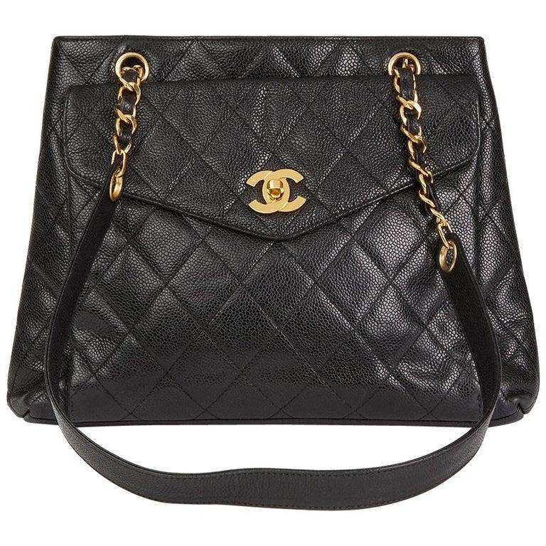 1990s Chanel Black Quilted Caviar Leather Vintage Classic Shoulder Bag