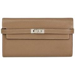 2009 Hermes Etoupe Chevre Mysore Kelly Long Wallet
