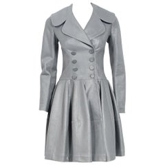Azzedine Alaia Metallic Silver Cotton Double Breasted Princess Coat Jacket, 2005