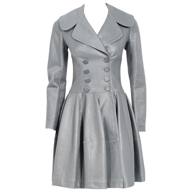 Azzedine Alaia Metallic Silver Cotton Double Breasted Princess Coat Jacket, 2005 For Sale