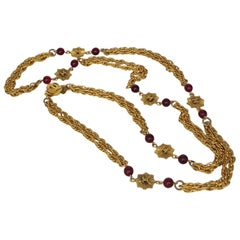 Chanel Vintage Gripoix Ruby And Logo Necklace In Beautiful Gold Tone From 1984