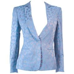 GIORGIO ARMANI Blue Animal Pattern Silk Jacket with Gold Studs Size 42