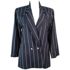GIANNI VERSACE Black & Cream Striped Jacket Size 6