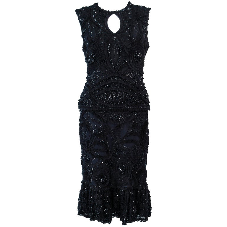 NAEEM KHAN 2pc Black Beaded Skirt & Top Stretch Ensemble Size 8 10