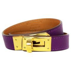 Hermes Purple Leather Kelly Double Tour Bracelet
