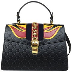 Gucci Black Leather Monogram Guccissima Medium Sylvie Flame Bag