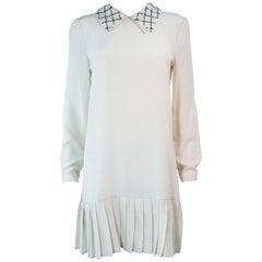 PRADA Cream Silk Sequin Collar Pleated Dress Size 2 4