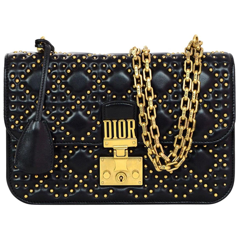 73a21c3113e Dior Black   Gold Studded Dioraddict Flap Bag, 2017 For Sale at 1stdibs