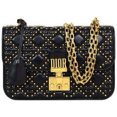 Dior Black / Gold Studded Dioraddict Flap Bag, 2017