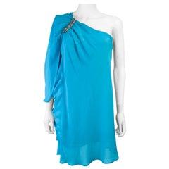 ROBERTO CAVALLI Aqua Silk Chiffon One Shoulder Draped Cocktail Dress Size 40