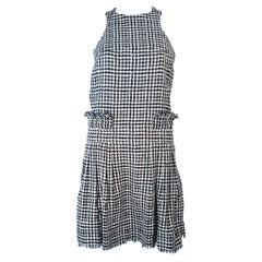 CHANEL Black & White Tweed Criss Cross Back Dress Size 36