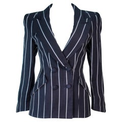 GIORGIO ARMANI Navy Striped Double Breasted Tailored Jacket Size 38