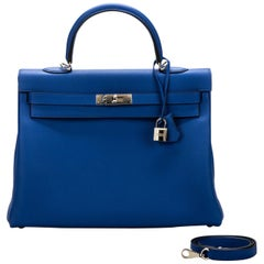 New in Box Hermes Kelly 35 Electric Blue Togo Bag