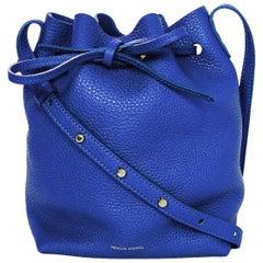 Mansur Gavriel Blue Tumble Leather Mini Bucket Bag
