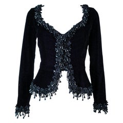 VICTOR COSTA Black Velvet Beaded Evening Jacket Size 4 6
