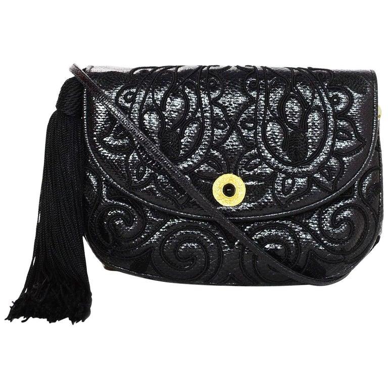 Judith Leiber Vintage Embroidered Black Lizard Clutch/ Crossbody Bag