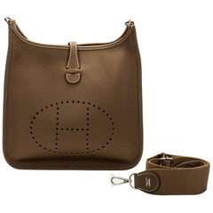 New in Box Hermes Evelyne Pm Etoupe Clemence Crossbody Bag