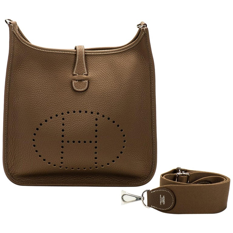 c53d09c92947 New in Box Hermes Evelyne Pm Etoupe Clemence Crossbody Bag For Sale ...