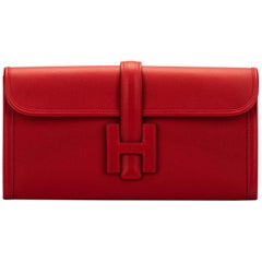 New in Box Hermes Red Evercolor Jige Clutch Bag