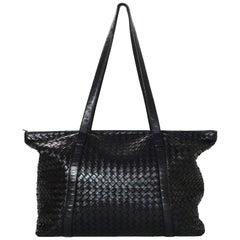 Bottega Veneta Black Woven Leather Intrecciato Tote Bag