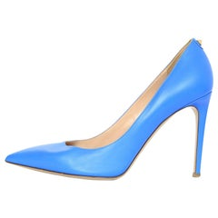 Valentino Blue Leather New Plain 100mm Pumps Sz 38