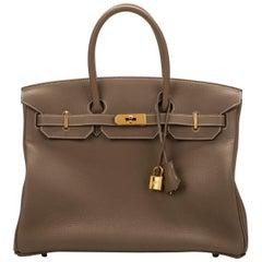 New Hermes Birkin 35 Etoupe Clemence Bag