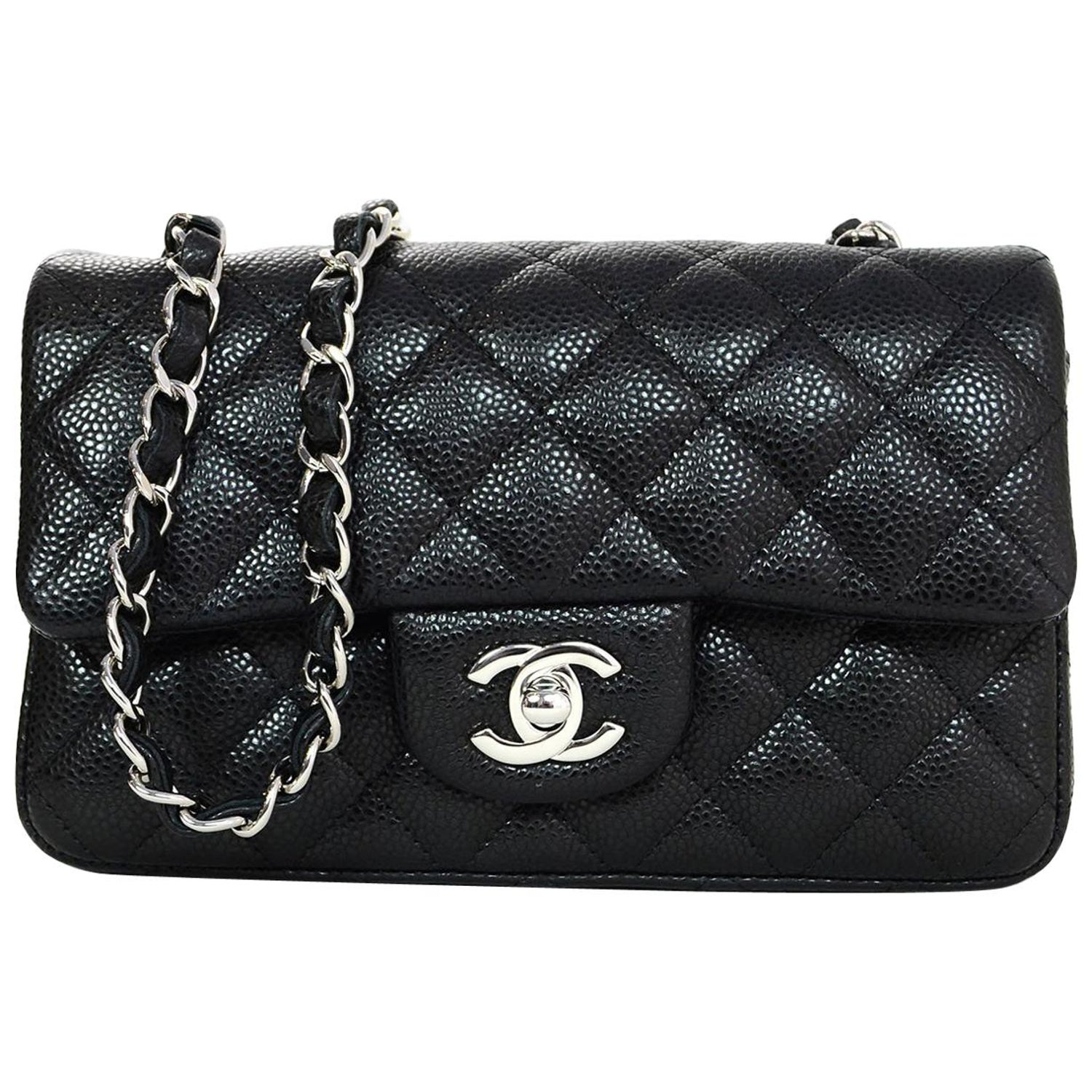 8ee8095b5cce Chanel 2018 Black Quilted Caviar Rectangular Mini Flap Crossbody Bag w.  Receipt For Sale at 1stdibs