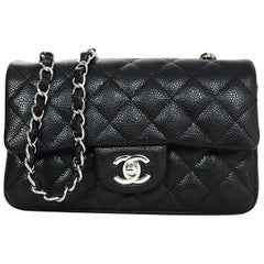 Chanel 2018 Black Quilted Caviar Rectangular Mini Flap Crossbody Bag w. Receipt