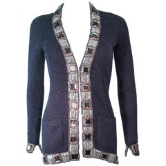 OSCAR DE LA RENTA Grey Embellished Cashmere Cardigan Size XS