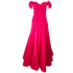 Murray Arbeid Red Ruched Taffeta Gown with Bow Details