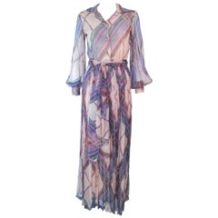 Valentino Vintage Silk Chiffon Abstract Long Sleeve Maxi Dress, 1970s