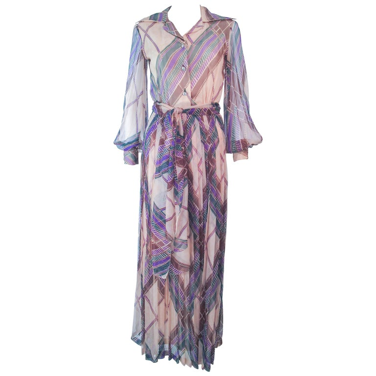Valentino Vintage Silk Chiffon Abstract Long Sleeve Maxi Dress, 1970s For Sale