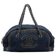 Chanel Denim Shoulder Bag With Chain