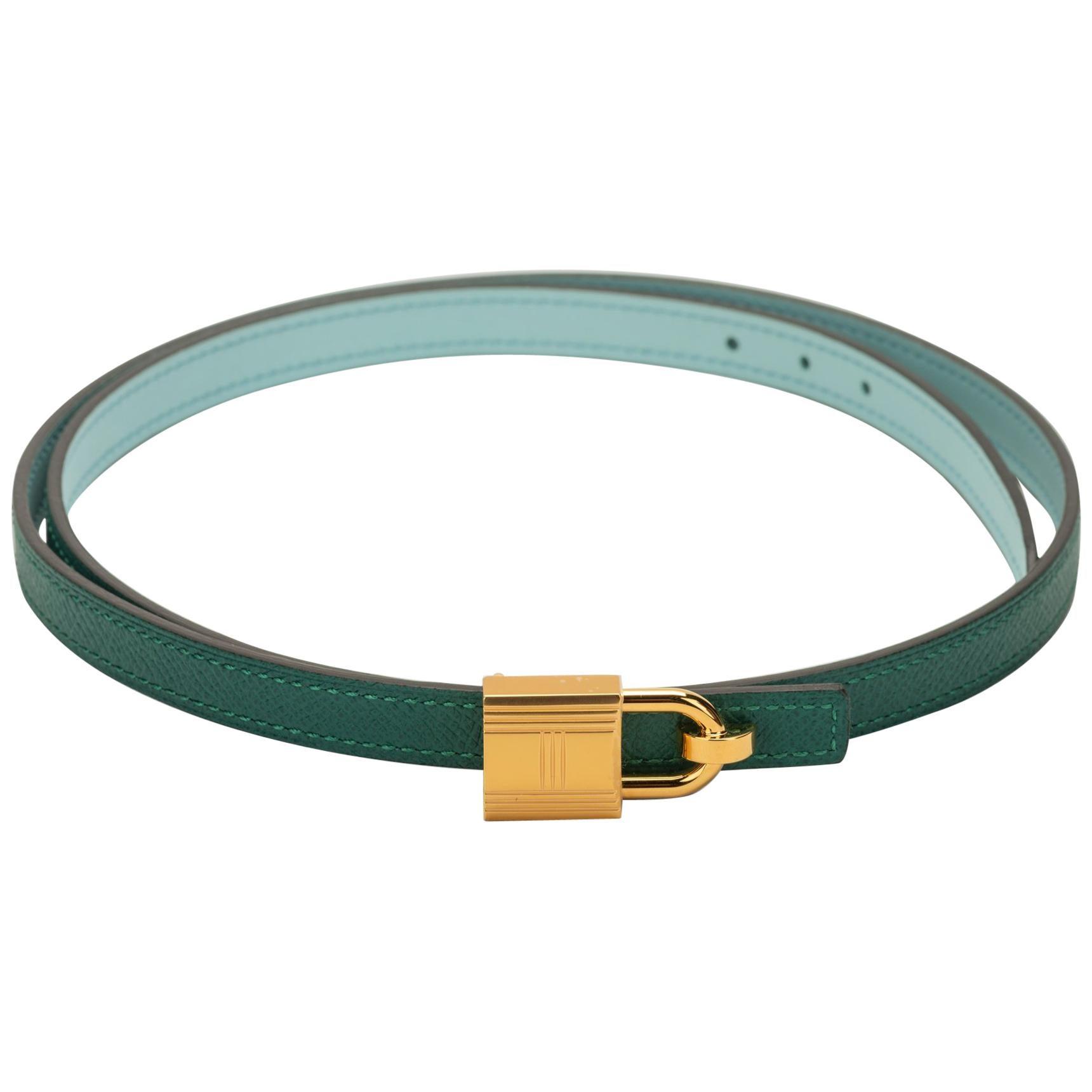 New in Box Hermes Green Blue Atolle Lock Belt