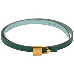 New in Box Hermes Green Blue Atolle Lock Belt