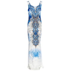 New Roberto Cavalli Jersey Stretch Blue White Micro-Beaded Long Dress 40 - 4/6