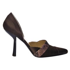 New Vintage Tom Ford For Gucci Vintage Python Satin Pumps Heels Sz 7