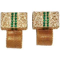 20th Century Gold Mesh & Emerald Crystal Rhinestone Cufflinks
