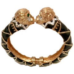 "Contemporary Gold Enamal & Swarovski Crystal ""Kissing Monkey"" Bracelet By KJL"